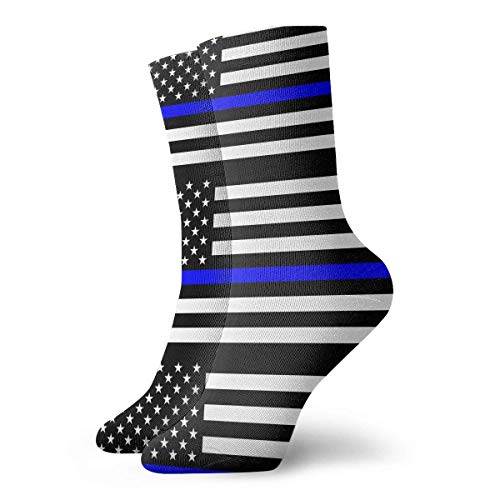 AORSTAR Socken Socks Breathable Thin Blue Line Blue Lives Matter Flag.png Crew Sock Exotic Modern Women & Men Printed Sport Athletic Socks 11.8in (Athletic-crew Socke 6 Pack)