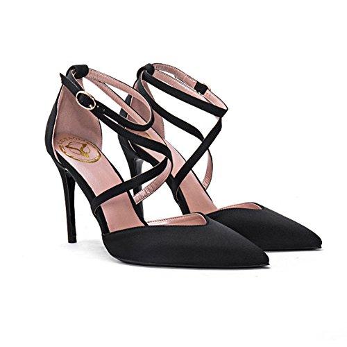 YIXINY Escarpin CD-3931 Chaussures Simples Femme Soie + PU Talon Mince Pointu La Bouche Peu Profonde Robe De Mariée Sangles Croisées 9 CM Talons Hauts Noir, Rouge