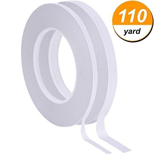 2Rollen doppelseitiges Klebeband weiß beidseitigen Klebeband für Scrapbooking, Fotos, Einladung Karten, Papier und DIY Handwerk, jede Rolle 50Meter lang (Breite von 1/10,2cm und 1/5,1cm)