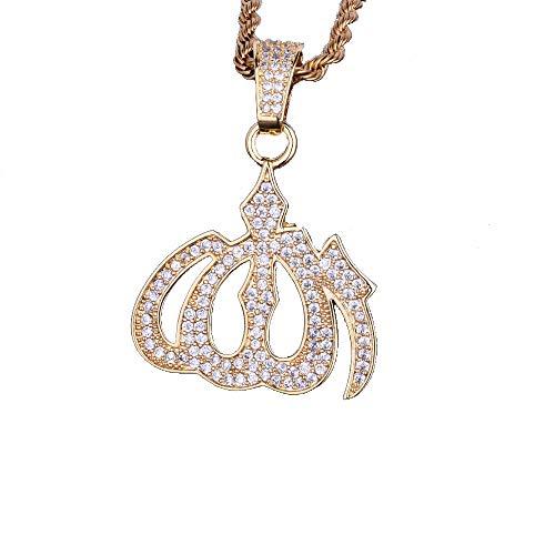 Männer Hip Hop Vintage Muslim Islam Anhänger Halsketten Strass CZ Micro Gepflasterte EIS Kette Religiöse Schmuck,Gold