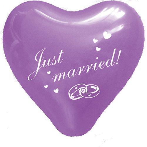 Luftballons, Herz-Ballons, Lila, 5 Stück, Hochzeitsdeko, Raumdekoration, Bedruckte Ballons, Hochzeit oder Party-Deko, Just Married, Herzform Latex Luftballons, Violett