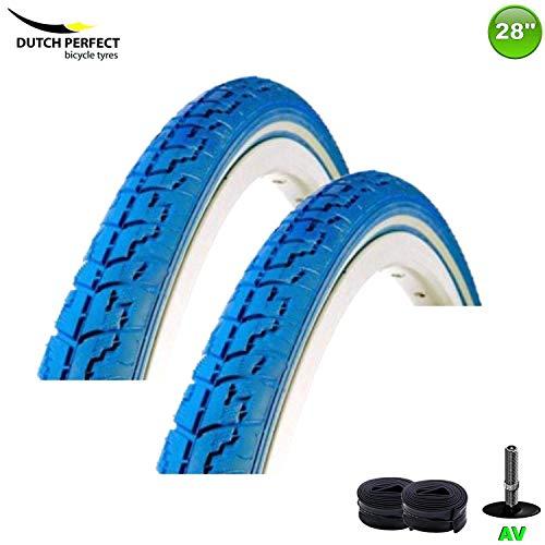 2 x DSI Fahrradreifen Mantel Decke 40-635 Farbe Blau + 2 Schläuche AV40 -