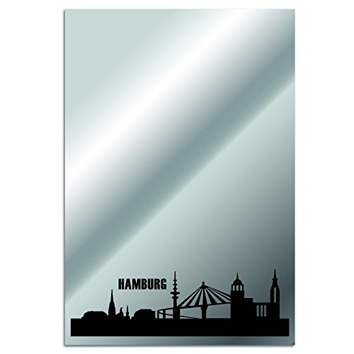 Spiegel Wandspiegel mit Stadtmotiv - Hamburg | 40x60x0,4 cm