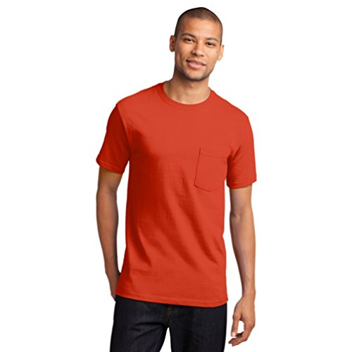 Port & Company Herren ist groß Essential Pocket T-Shirt Gr. Large, Orange (Pocket T-shirt Orange)