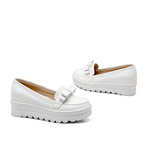 AllhqFashion Femme Tire Pu Cuir Rond à Talon Correct Couleur Unie Chaussures Légeres Blanc