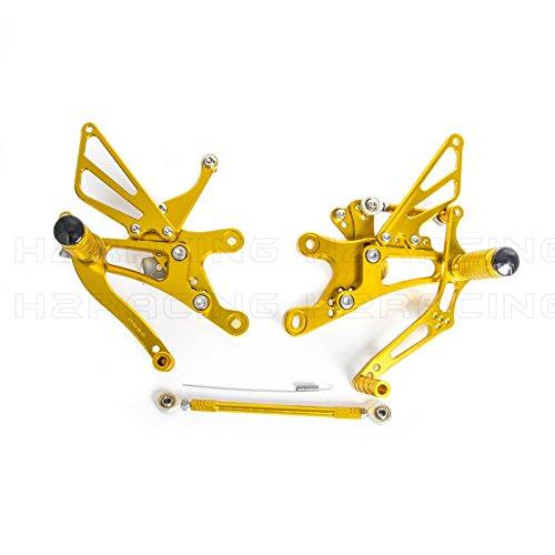 H2Racing Gold CNC Motorräder Einstellbar Fußstützen Rückseite Fußrasten Fußrastenanlage für YZF-R6 1999 2000 2001 2002 Y-amaha (Yamaha 2002 Fussrasten R6)