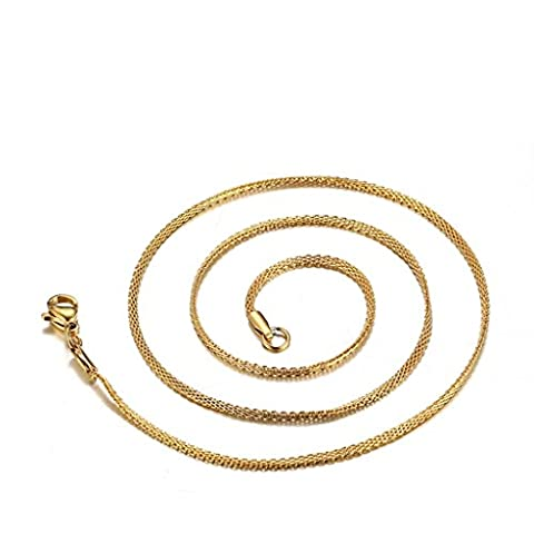 Bishilin 18K Gold Plated Stainless Steel Mesh Chain Necklace For Men Pendant 1.5mm 18