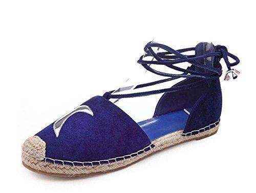 Scarpe piatte Cinghie di caviglia D'Orsay Pecora pelle Pelle pelle Luna Scarpe Sandali Blue
