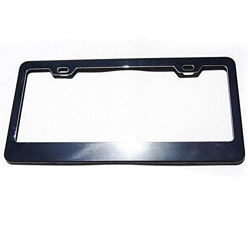 License Plate Frame Holder (Black Chrome Powder Coated 100% Stainless Steel License Plate Frame Holder Tag by Circle Cool)