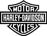 L.I. Firenze Harley Davidson Logo Stemma Marchio Adesivo Replica prespaziato Senza Fondo in Vinile Colore Nero Lucido, 10 Centimetri.