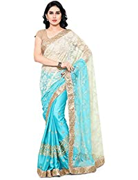 Womanista Women's Faux Crepe & Satin Sari With Blouse Piece(FS9046_Turquoise_Free Size)