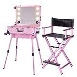 KINYNE Trucco Trolley Make Up Case Con Specchio A LED A Schermo Intero E Gambe Regolabili + Trolley Pieghevole Pieghevole Heavy Duty Artist Artist Chair Pieghevole,Pink