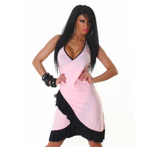 Jela London Robe courte de cocktail col en V deux coleurs Taille unique Rose-Noir