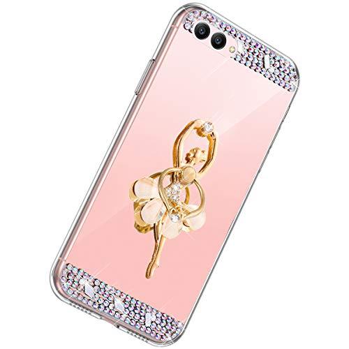 Herbests Kompatibel mit Huawei Honor View 10 Hülle Glitzer Mädchen Schuzhülle Spiegel Bling Strass Diamant Blumen Transparent TPU Silikon Handyhülle Tasche Ring Halter Ständer,Rose Gold
