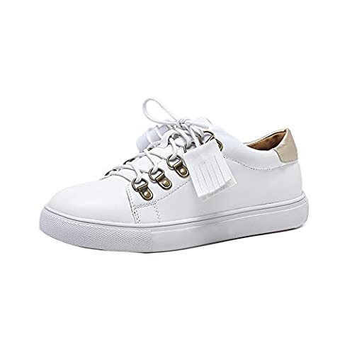 1TO9 Womens Lace-Up Light-Weight Microfiber White Microfiber Walking Shoes - 3 UK