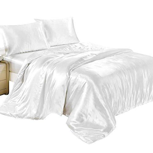 Tiunyeah 4-teiliges Set aus Satin-Seide, Spannbettlaken, Kissenbezügen, Schlafzimmer-Bettbezug, Bettwäsche-Set, King-Size-Doppel- und Einzelbett-Größe -