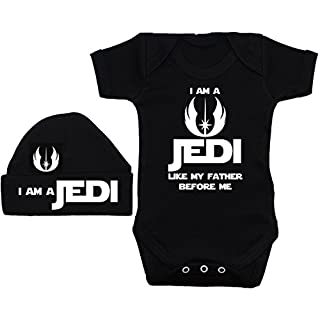 Acce Products I Am a Jedi Like My Father Before Me Baby Grow/Bodysuit/Romper/T-Shirt & Beanie Hat/Cap - 3-6 Months - Black