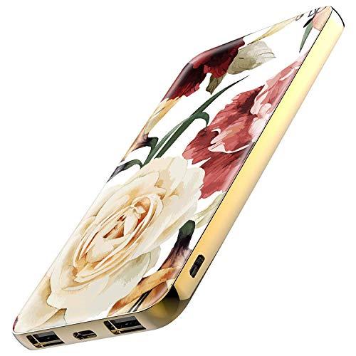 TheSmartGuard Powerbank 6000mAh Externer Akku mit USB-C Port Ladegerät kompatibel für iPhone XS/XR/X Samsung S10/S9/S8 Note 9 Huawei P30 und viele mehr | Blumen Vintage Look Weiß Rot Creme Gelb -