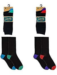 4 Pairs of Mens RJM coloured heel and toe cotton blend socks