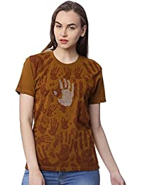 Wolfpack Brown Round Neck Short Sleeve 100% Cotton Girls/Womens T-Shirt - Hands All Over