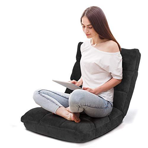 COSTWAY Bodenstuhl verstellbar, Bodensessel gepolstert, Bodenkissen mit Rückenlehne, Meditationsstuhl Fensterstuhl (schwarz) - Öffnen Seat
