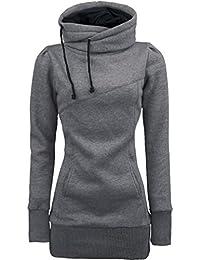 Amlaiworld Sweatshirts Winter Herbst Bunt Rollkragen M ntel Damen  Komfortabel Gestreift Kapuzenpullis Locker Sport… bf8815c74a