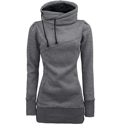 Amlaiworld Sweatshirts Winter Herbst bunt Rollkragen M?ntel Damen komfortabel locker Sport Sweatshirt warm weich Lang Tasche Pullover (XXXXL, A, Grau)