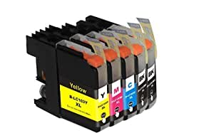 TS 5 PK Compatible Ink Cartridges for Brother LC103 LC-103 (2 Black, 1 Yellow, 1 Magenta, 1 Cyan) for Multifunction Printers MFC-J4310DW MFC-J4410DW MFC-J4510DW MFC-J4610DW MFC-J4710 MFC-J470DW MFC-J475DW MFC-J870DW MFC-J875DW