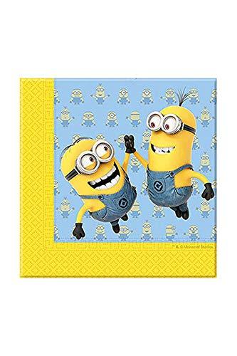 Procos 87178.-Servietten Papier Minions, 20Stück, gelb/hellblau (Gelbe Papier Servietten)