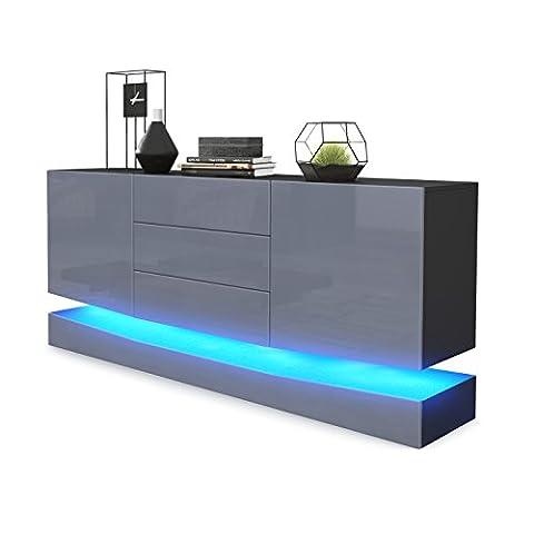 Sideboard Kommode City, Korpus in Schwarz matt / Fronten in Grau Hochglanz inkl. LED Beleuchtung