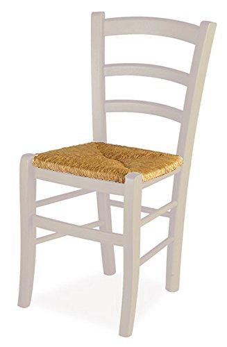 Set 2 sedie venezia - anilina avorio 106 sedile paglia
