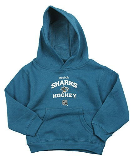 Shark Kinder Sweatshirt (Reebok San Jose Sharks NHL Little Boys Pullover Fleece Hoodie, Blaugrün, Jungen, blaugrün)