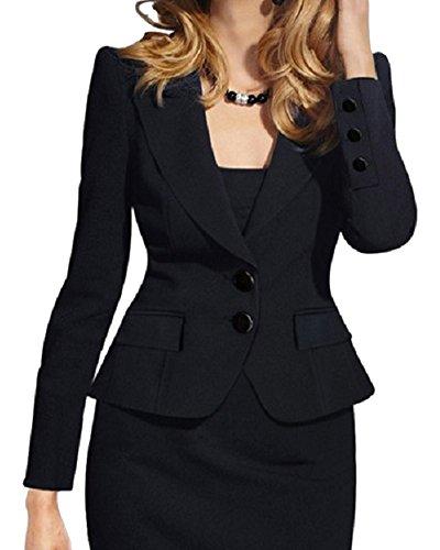 Donna taglie forti maniche lunghe ol ufficio tailleur elegante corto giacche da abito e blazer con due bottoni nero m