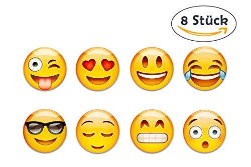 8 Emoji Kühlschrankmagnete im Set, STARKER HALT an Kühlschrank und Whiteboards, ø 40mm Magnete (Kühlschrank-magnete Emoji)