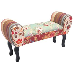 ROSES - Shabby Chic chaise longue pouf tabouret