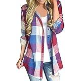 VJGOAL Damen Bluse, Damen Mode lässig Passenden Farbe herbstlichen Langarm-Taste lose Kariertes Hemd Bluse Top T-Shirt (Rot, 46)