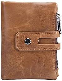 a8c08761595ca 5ALL Herren Leder Vintage Geldbörse Luxus Geldbeutel Große Kapazität  Doppelter Reißverschluss Weiche Brieftasche mit RFID Schutz…