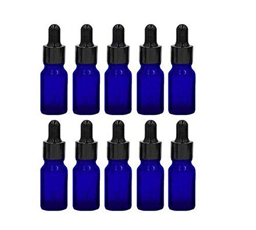 Tukistore 1/3 oz Botellas de Vidrio Azul con cuentagotas de Vidrio Dispensador de aceites Esenciales, Productos químicos de Laboratorio, Colonias, Perfumes y Otros Líquidos - Paquete DE 10