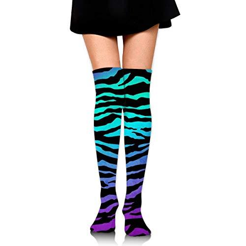 XIUZHIZH Women Teens Girls Over Knee Thigh High Boots Socks Tube Leg Warmers Stocking Cotton Cosplay Long Comfortable Leggings Purple Blue Green Camouflage Zebra Stripes Sock - Purple Knee High Boots