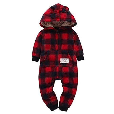 Nouveau-né plus épais treillis Combi-short à capuche Combi-short, LHWY infantile bébé Zipper coton à capuche unisexe Outfit