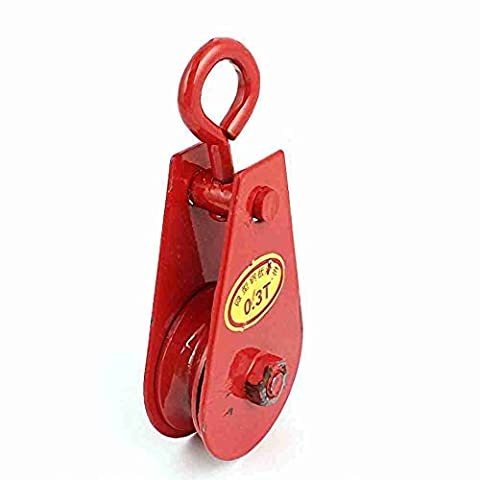 Move&Moving(TM) 0.3Ton 2 Inch Dia Single Sheave Metal Swivel Eye Hoist Rope Pulley Red