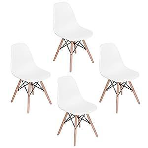 EGGREE Set di 4 Sedie da Pranzo Moderne Scandinavo Design Sedia Cucina Sedie in Plastica con Gambe di Legno, Bianca