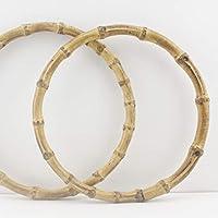 Asas de bambú para bolso de mano, bolso, bolso, manillar de repuesto, forma redonda y U, un par (2 piezas) por lote 24 cm Round