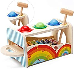 Babytintin Wooden Pond & Tap Bench with Slide Out Wooden Xylophone Toy for Kids