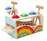 #8: Babytintin Wooden Pond & Tap Bench with Slide Out Wooden Xylophone Toy for Kids