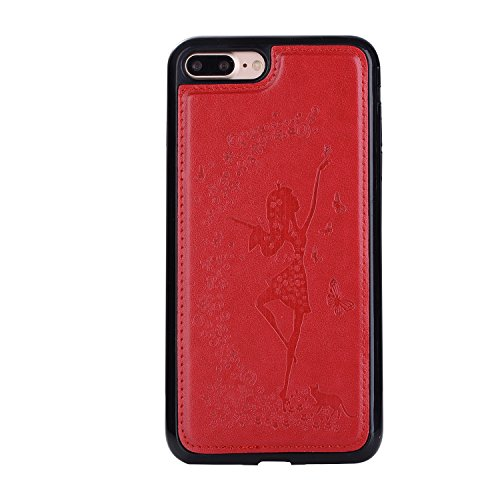 Custodia iPhone 7 Plus, ISAKEN Custodia iPhone 7 Plus, iPhone 7 Plus Flip Cover con Strap, Elegante 2 in 1 Custodia in Sintetica Ecopelle Sbalzato PU Pelle Protettiva Portafoglio Case Cover per Apple  Ragazza: rossa