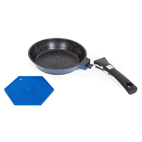 Poêle effet pierre poignée amovible bleu - Grand Cru 20 cm - Laguiole Qualité Pro