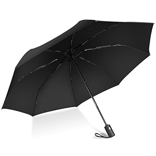 EC Technology Automatic Travel Umbrella Teflon 190T Canopy Windproof Umbrella Strong Waterproof Auto Open Close Portable and Mini Lightweight for Easy Carrying Compact Durability Umbrella