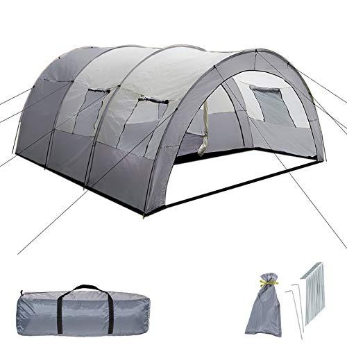 TecTake 800588 Tente de Camping Familiale Tunnel XXL, 4 Fenêtres, jusqu'à 6 Personnes - diverses...