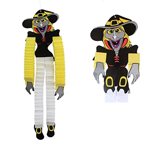 HUHU833 Halloween Dekor ,Hang in Tür,Halloween Hängende Witch Skeleton Papier Home Party Dekoration Anhänger Quaste,Zombies,Hexe,Vampir,Spinne,Skelett, (Hexe Hängende)